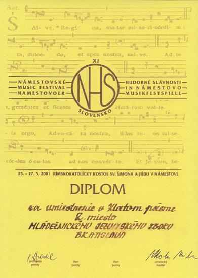 Diplom za 2. miesto v Zlatom pásme Námestovských hudobných slávností (Námestovo 25. - 27. mája 2001)